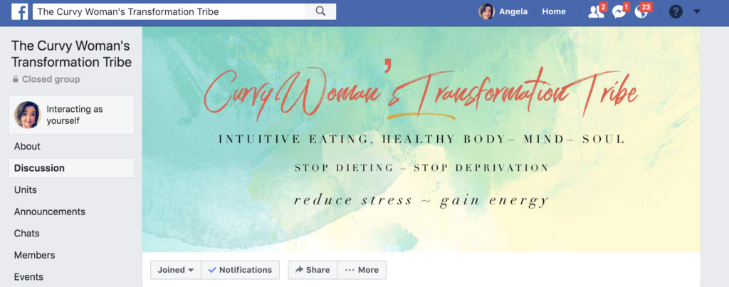 Curvy Woman's Transformation Tribe Facebook Group